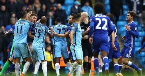 chelsea vs manchester city manchester city and chelsea charged following etihad clash