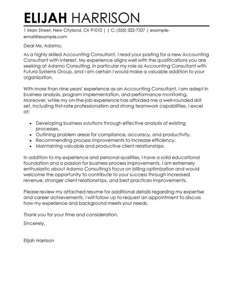 cover letter to consultant for best consultant cover letter exles livecareer