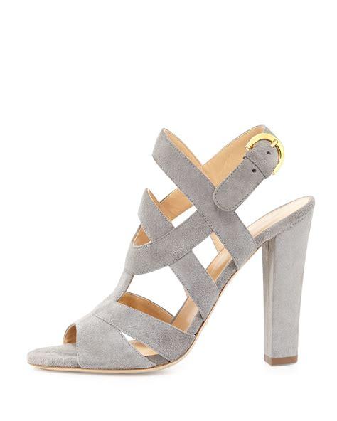 suede heeled sandals lyst sergio suede block heel sandal in gray