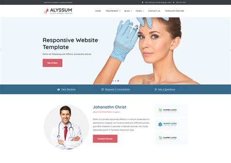 Cosmetic Website Templates Alyssum Plastic Cosmetic Surgery Website Templates Ease Template