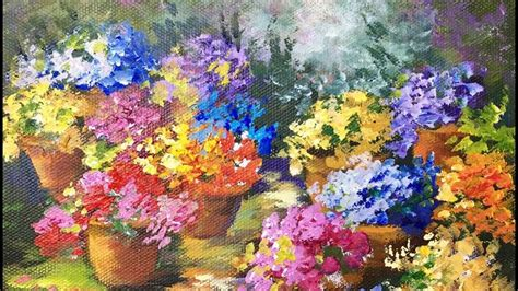 acrylic painting cook pots of flowers a beginner acrylic painting tutorial by