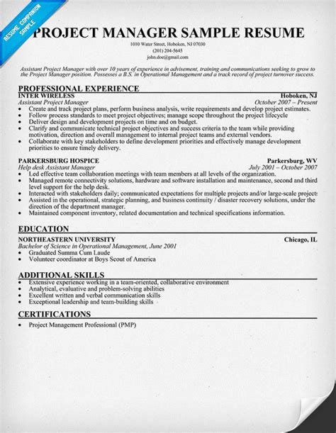 regular project management resume samples free project manager