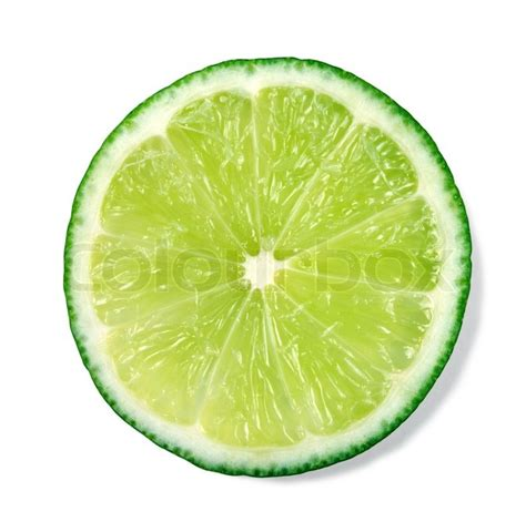 lime slice slice of fresh lime isolated on white background stock