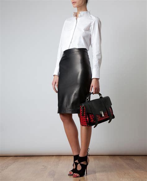 brainy mademoiselle leather pencil skirt
