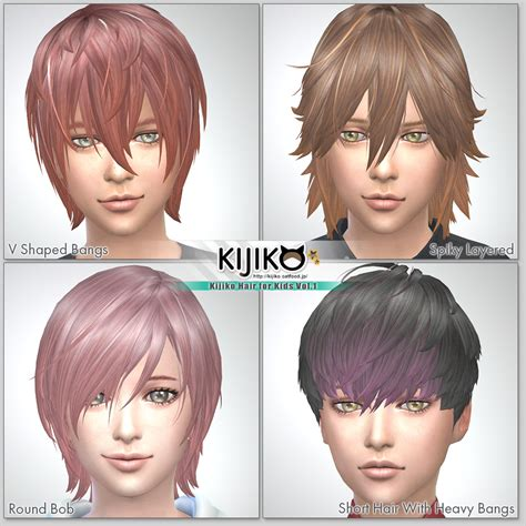 sims 4 anime hair cc kijiko hair for kids vol 1 kijiko