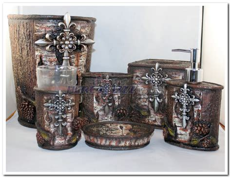 fleur de lis bathroom sets fleur de lis cross pinecone tree bark six piece bathroom set
