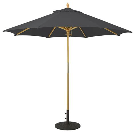 Black Patio Umbrellas 9 Wooden Patio Umbrella With Manual Lift Black Transitional Outdoor Umbrellas By Galtech