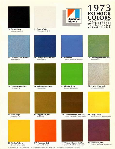 1973 amc exterior colors chart page 1 of 2