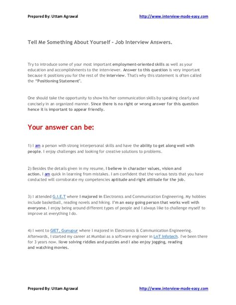 Tell Secrets Essay by Tell Me Something About Yourself Answers