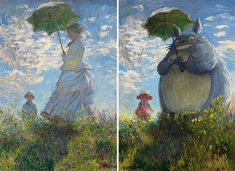 popular artwork artist gives famous paintings geeky cartoon makeovers