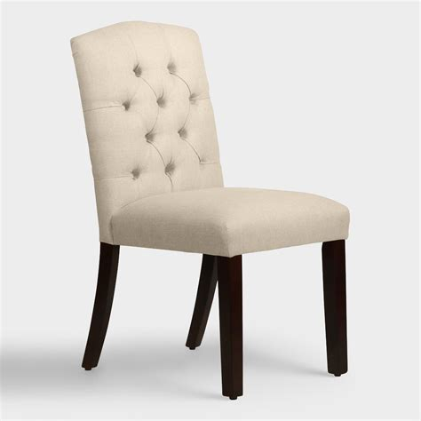 Linen Tufted Dining Chairs Linen Tufted Zoey Dining Chair World Market