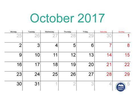 Calendar 2017 October 9 2017 October Calendar Printable Printable 2017 Calendar