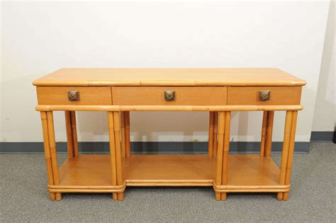 vintage oak and rattan console table at 1stdibs