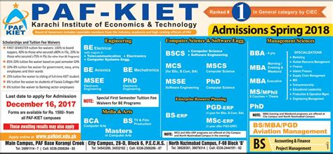 General Management Mba Rankings by Admission Open In Paf Karachi Institute Of Economics And