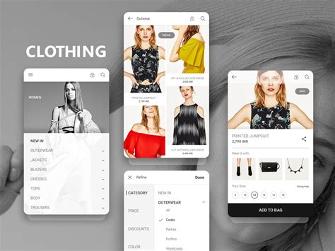 app design jacket e com clothing app design uplabs