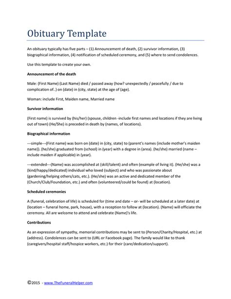 obituary template obituary template in word and pdf formats