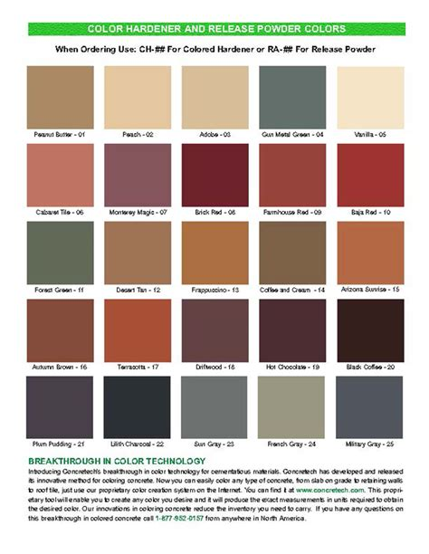 color chart colour charts con spec industries
