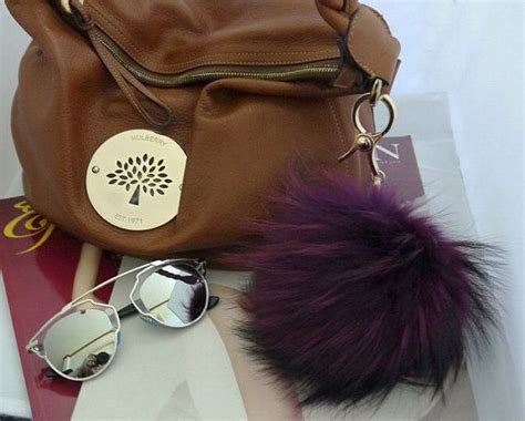 Black Furball Bag Charm purple blue marine black white pink fluffy