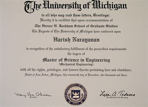 Mba Programs In Michigan by Harish Narayanan S Work Pages Graduate Level Coursework