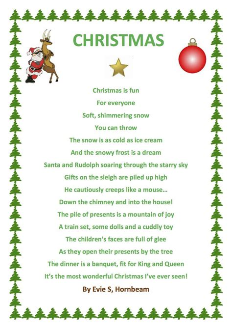 poems of christmas evie has used word to produce a