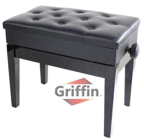 ebony black leather piano bench wood adjustable keyboard