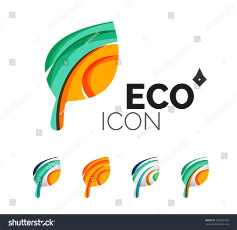 set abstract eco leaf icons business stock illustration