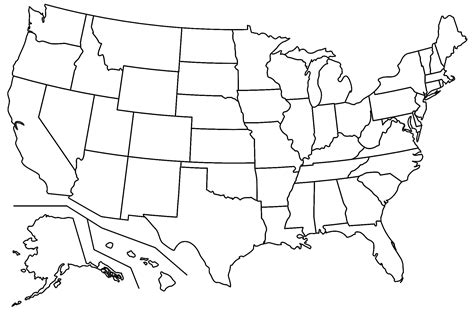 united states map no names us map with names of states usa map without state names no