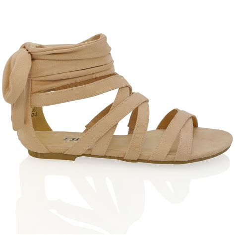 ankle tie sandals flat womens lace up flat ankle tie wrap summer strappy