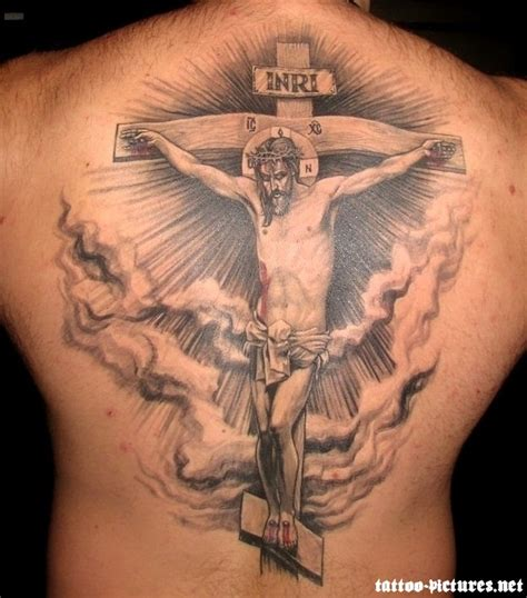 tattoos of christ on the cross 3d cross and jesus on back