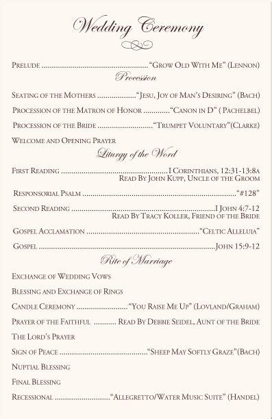 Catholic Mass Wedding Ceremony Catholic Wedding Traditions Celtic Wedding Program Exles Church Wedding Ceremony Program Template