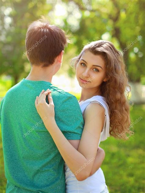 cute teenagers summer portrait young charming girl and boyfriend cute