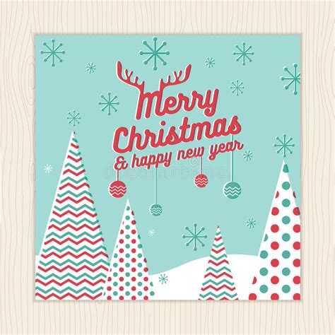Merry Christmas Happy New Year Card Or Poster Template With Christmas Tree Background In Green Merry Card Template