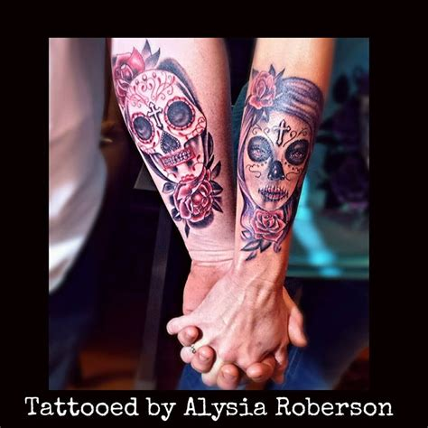 day of the dead couple tattoos day of the dead sugar skulls s tattooed by