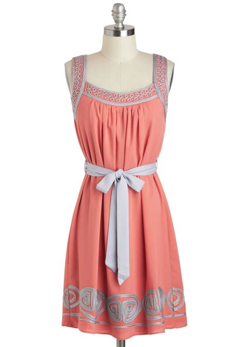 Dress Pink Curly curly dress mod retro vintage dresses modcloth