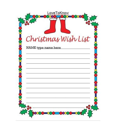 43 printable christmas wish list templates ideas