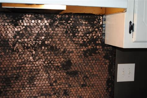 make a penny backsplash for an expensive look creative ideas mom transforms her whole kitchen using old pennies