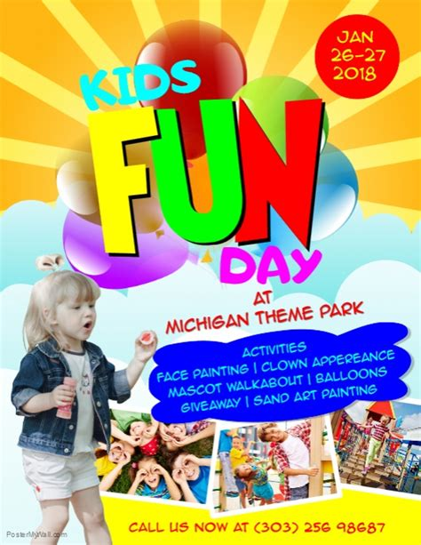 kids fun day flyer template postermywall