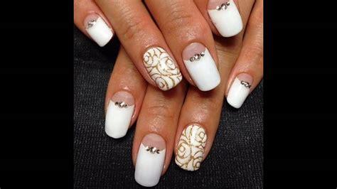 imagenes de uñas blancas y negras u 241 as decoradas blancas con dorado youtube