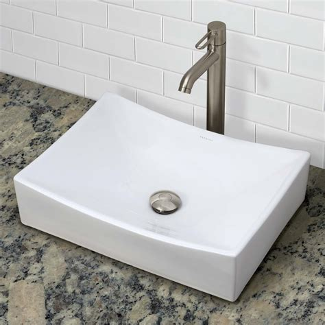 above the counter bathroom sinks decolav kalina 1446 cwh rectangular above counter