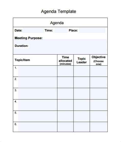 search results for simple meeting agenda template