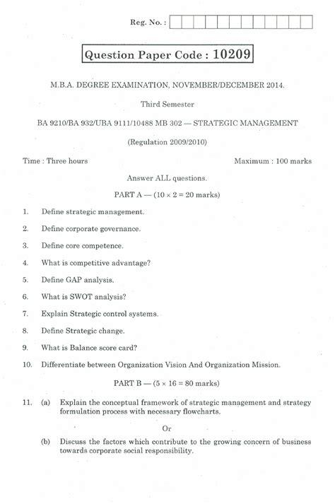 Mba Results Nov Dec 2014 by Ba9210 Strategic Management Mba 3rd Semester Nov Dec 2014