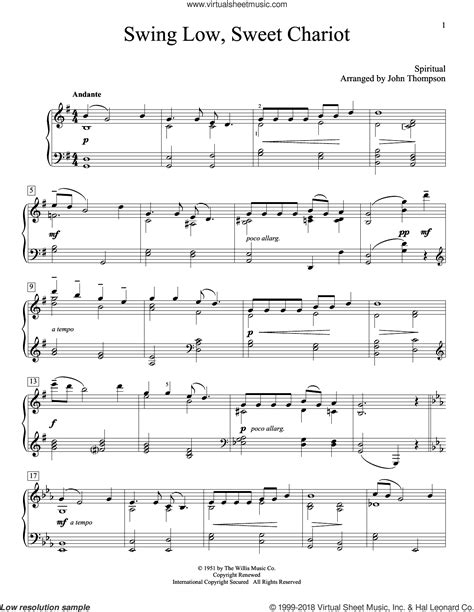 swing low sweet chariot piano thompson swing low sweet chariot sheet music for piano