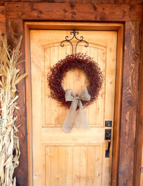 country door home decor fall door wreath scented wreaths cranberry country red
