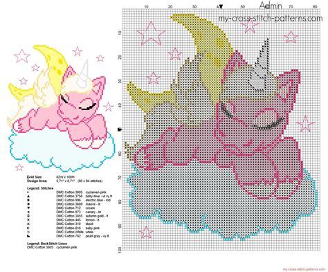 unicorn needlepoint pattern unicorn sleeping on the clouds free cross stitch pattern