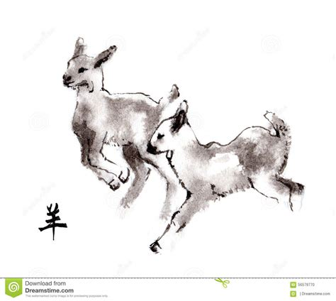 new year goat drawing goats ink painting sumi e stock illustration