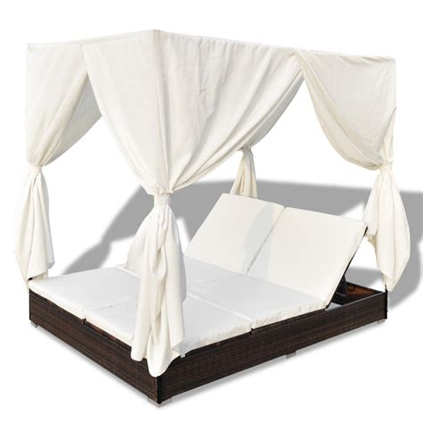 rattan curtains luxury outdoor brown rattan sun bed 2 persons with curtain
