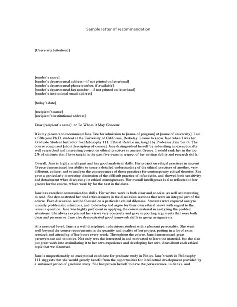 College Letter Of Recommendation Personal personal reference letter template of