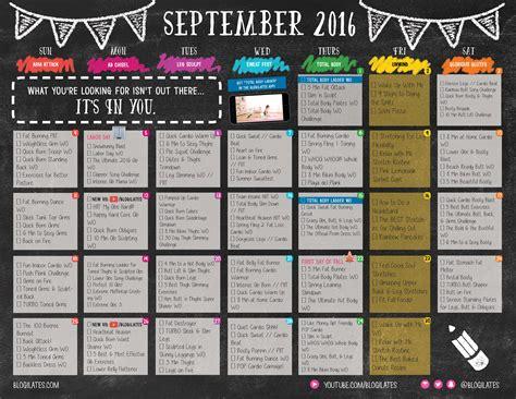 workout calendar september 2016 workout calendar blogilates fitness