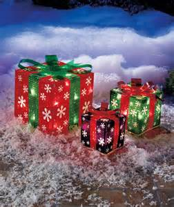 snowflake set of 3 lighted gift boxes indoor outdoor
