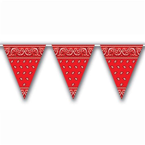 country western red bandana pennants flags theme party decorations
